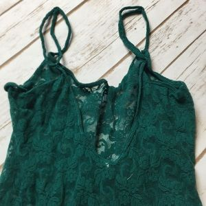 Free People Green Lace Tank Top Women's Size SM